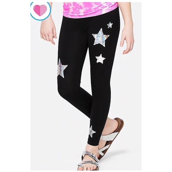 NEW Justice Girls Sequins Side Pocket Black Leggings NWT 12 16  18 20 Plus